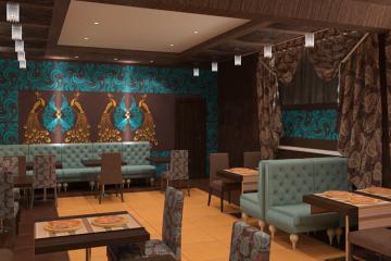 """Малый банкетный зал кафе """"Русь"""". 3D модели интерьера. Реализованный проект"""