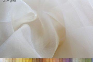 Lux Organza. 29 цветов. Выделка - органза. Состав: 100% полиэстер. Ширина - 320см.
